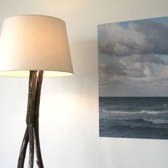 DIY Wood Branch Tripod Floor Lamp