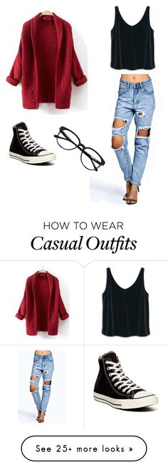 """Casual"" by torigonzalezz on Polyvore featuring Boohoo, MANGO and Converse"