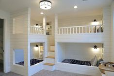 Kids Room With Built In Bunks For Four Millhaven Homes And Four Chairs Design 2018 Utah Valley Parade Of Homes Featured On Remodelaholic Bed For Girls Room, Bunk Beds For Girls Room, Bunk Bed Rooms, Bunk Beds Built In, Modern Bunk Beds, Bunk Beds With Stairs, Cool Bunk Beds, Kid Beds, Kids Bedroom
