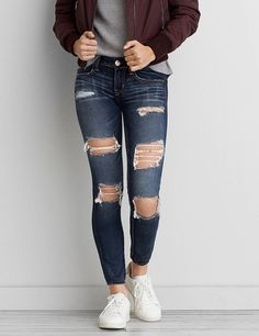 Fashion Women Jeans Jeans And A Nice Top High Waisted Boyfriend Jeans High Waisted Flare Pants – rotatal Informations About Best Women Jeans Jeans And A Nice Top High Waisted Boyfriend Jeans High Wais Cute Ripped Jeans, Ripped Jeans Outfit, Women's Jeans, American Eagle Outfits, American Eagle Jeans, American Eagle Outfitters Jeans, Navy Blue Formal Dress, Royal Blue Pants, Green Party Dress