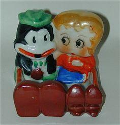 Betty Boop & Flip The Frog Lustreware Ashtray (Japan, 1930's)