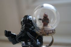Glass terrarium dome ring with Star Wars Jawa. by ThehouseofBoo, £15.00