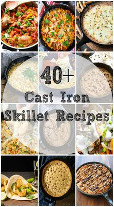 More than 40 Cast Iron Skillet Recipes from Breakfast to Dessert. This list of Cast Iron Skillet recipes continues to grow so bookmark this page or pin it! This post contains affiliate links. Cast Iron Skillet Cooking, Iron Skillet Recipes, Cast Iron Recipes, Oven Recipes, Cooking Recipes, Cooking With Cast Iron, Skillet Dinners, Skillet Food, Cooking Games