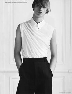 versusversace: Louis Steyaert by Karim Sadli i-D magazine The Alphabetical Issue pre-spring 2013 Top and trousers by Rick Owens. Shirt by Jil Sander - v neck shirt, white slim fit shirt with black buttons, mens shirts white *ad Jil Sander, Rick Owens, Mademoiselle Mode, Fashion Details, Fashion Design, Fashion Trends, Only Shirt, Moda Chic, Pattern Cutting