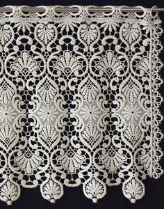 Classic macrame lace curtain in 18 inc in ecru