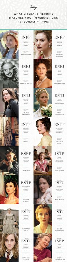 16 literary heroines, one for every MBTI. I'm INFP but I've always related more to Emily of the New Moon than Anne Shirley
