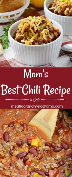 Mom's Best Chili Recipe - A simple, mild chili with ground beef and kidney beans that tastes like mom and grandma made! Perfect for an easy dinner, potluck or game day. Keeps warm in the slow cooker and easy to reheat for leftovers! from Meatloaf and Melodrama #easydinnerrecipes #gameday #groundbeef
