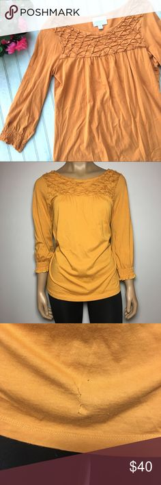 Deletta Anthropologie Orange Long Sleeve Top Deletta Anthropologie Orange Blouse  ⁃Size: M  ⁃Condition: Excellent Used Condition, however a small hole was repaired on the shirt as pictured  ⁃Measurements: Chest: 18in across Waist: 16in across Length: 24in Sleeve: 21in All measurements are APPROXIMATE & taken laid flat.  ⁃Material Makeup: 100% Cotton 📦📫Same to Next Day Shipping! ✖️Don't like the Price? Make an Offer!  ❓Have a Question? Ask!  🍁Bundle & Save! Add item(s) to a bundle…