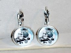 Ohrringe Eule Damen Hänger Ohrschmuck Modeschmuck Glas Cabochon handgefertigt
