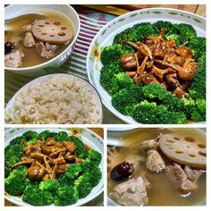 Lotus Root Soup & Broccoli w Braised Matsutake Mushroom