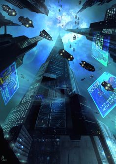 """futuristic skycraper city, cyberpunk city in one point perspective, from under, spaceship on the sky, fragments-of-a-hologram-dystopia: """"cyberpunk city street, urban slum district, blade runner inspired environment landscape concept art artwork inspiration ideas, dark, black, purple blue neon glow night city street scene environment render, illustration, scifi fantasy environment futuristic tech architecture buildings digital art, matte painting"""