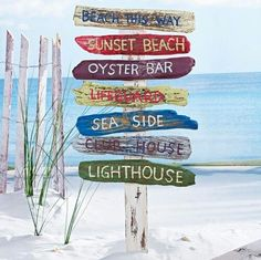 Summer project: gotta make a wooden beach sign like this for my bathroom.