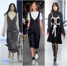 Love that modest shirt layering under strap dresses is making a comeback! || The 10 Best Spring Trends From New York Fashion Week