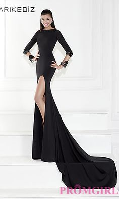 High Neck Long Sleeve Gown by Tarik Ediz at PromGirl.com