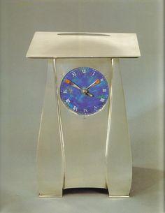 "Archibald Knox (Manx, 1864-1933), ""Cymric"" Silver and Enameled Clock."