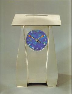 "Archibald Knox (Manx, 1864-1933), ""Cymric"" Silver and Enameled Clock."