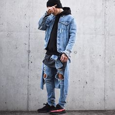 denim from bottom all the way up. today im wearing a black hoodie by @champion, dark grey long tshirt by @topman, basic hat by @asos, denim jeans/jacket/shirt by @zara and shoes by @kanyewest 350 black/red. good day everyone