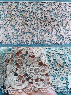 Antique Early Venetian Lace True Venice Rose Point Needle lace Handmade 17thC Stunning Pomegranates Exquisite Flax Linen Fringed Long Length