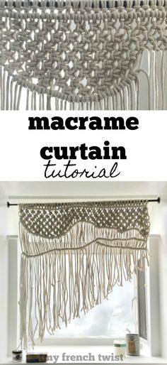 I've received lots of requests for a macrame curtain tutorial, so here's my first pattern for a simple single window curtain. Diy Home Crafts, Diy Craft Projects, Craft Tutorials, Crafts To Sell, Craft Ideas, Macrame Projects, Diy Ideas, Curtain Tutorial, Half Hitch Knot