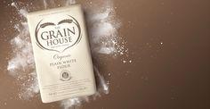 The Grain House Flour designed by Design Happy, a strategic packaging & branding design agency based in Kingston Upon Thames, UK. http://www.designhappy.co.uk