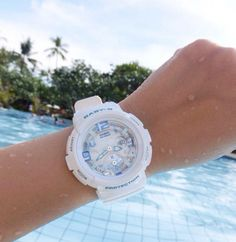 Baby-G Tough and water resistant ladies analog and digital watches. Baby G Shock Watches, Sport Watches, Watches For Men, Narnia Wardrobe, Discount Watches, Brand Name Watches, Ring Watch, Waterproof Watch, 100m
