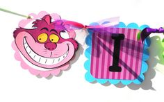 "Alice In Wonderland Themed ""I AM 1"" Highchair Birthday Banner Party Decoration with Cheshire Cat and Alice"
