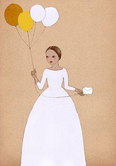 Girl with Balloons art print of original illustration drawing