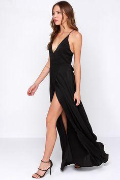 LULUS Exclusive Long Answer Black Wrap Maxi Dress at Lulus.com!