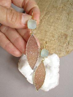 Copper Druzy Earrings Druzy Quartz Marquis Drops by julianneblumlo