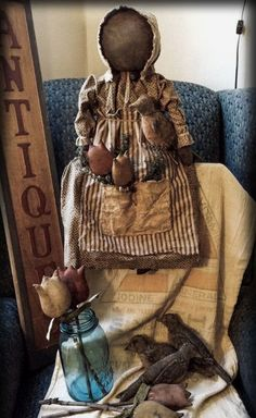 Primitive Spring Doll with Tulips and Birds