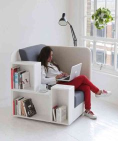 Big chair with attached bookcase.
