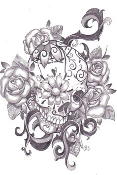 Awesome sugar skull tattoo