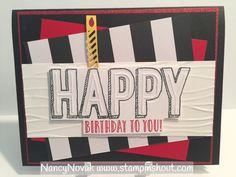 Stampin' Up Happy Celebrations stamp and Duo Celebrations embossing folder. Happy Birthday Card with a fun candle from the Window Box Thinlits Die. Visit my blog for details and to purchase Stampin Up products. They are the best for stamping your own beautiful cards!