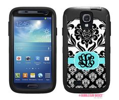Custom Double Damask - Black White Aqua #Monogram Custom Personalized - initials #OTTERBOX DEFENDER Samsung Galaxy S4 siv #Case  by iselltshirts (https://www.etsy.com/listing/158818453/otterbox-defender-samsung-galaxy-s4-siv?ref=shop_home_active_22)