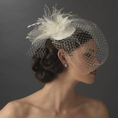 Bridal Bird Cage Veiling Bridal Hat with Swarovski Crystal & Feather Accents