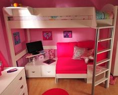 Stompa Casa 9 Bunk Bed with Sofa Bed from Bunk Beds 2U. #pink #bed #yeahright #love #bunkbed #cutesy #chiqueproblems #awesome.