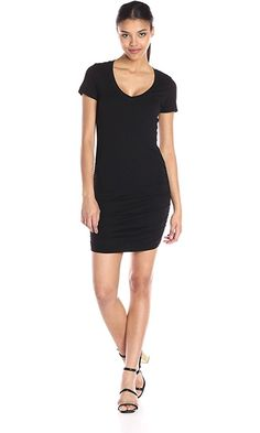 Michael Stars Women's Short Sleeve V Neck Mini Dress with Ruching, Black, X-Small Best Price