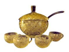 Brilliant Cut Clear Glass Covered Punch Bowl, Ladle and 12 Cups, ca. Punch Bowl Set, Clear Glass, Art Decor, Mugs, Tumblers, Mug, Cups