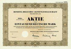 HWPH AG - Historische Wertpapiere - Binding-Brauerei AG Frankfurt am Main, Juni 1964, Specimen einer Aktie über 1.000 DM, o. Nr