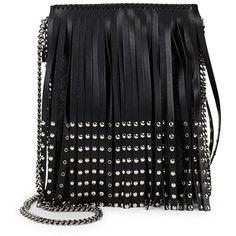 Stella McCartney Fringe Leather Crossbody (3,295 ILS) ❤ liked on Polyvore featuring bags, handbags, shoulder bags, man leather shoulder bag, faux leather crossbody, leather shoulder bag, leather crossbody purse and leather hand bags