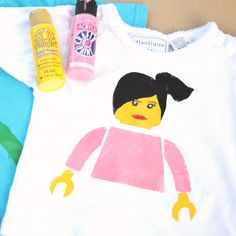 Downloadable DIY Lego T-shirt stencils. Easy to customize for boys or girls. A fun activity to do with kids.