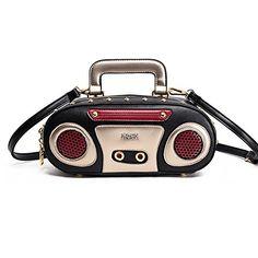 LUI SUIUnique Retro Radio Design Shoulder Bag Newest Rock Style Champagne Women handbag Cr43 Black ** Continue to the product at the image link.