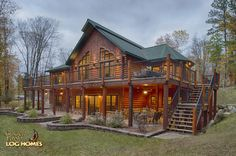 Log Home By Golden Eagle Log Homes - Exterior - Lakeside Stairs