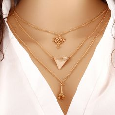 [USD0.92] [EUR0.85] [GBP0.66] Fashion Simple Multilayer Metal Clothing Accessories Necklace (Colour: Golden)