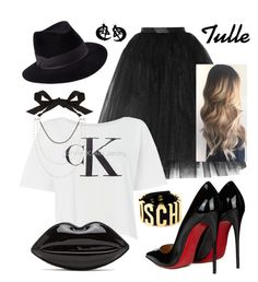 """Tulle skirt"" by keila-87 on Polyvore featuring moda, Ballet Beautiful, Calvin Klein, Christian Louboutin, Lanvin, Usagi, Moschino e Penmayne of London"