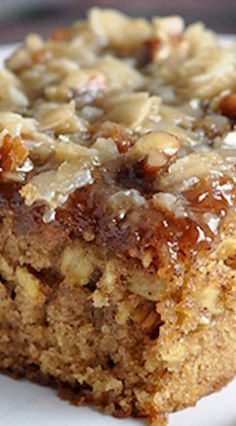 Oatmeal Cake: A moist oatmeal cake topped with a coconut and pecan streusel.   Dinners, Dishes, and Desserts. Note: Uses 9- x 13-inch baking dish.
