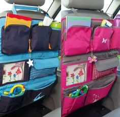 back seat storage - kids Sewing Crafts, Sewing Projects, Car Seat Organizer, Car Organizers, Hanging Organizer, Car Seat Protector, Blog Couture, Seat Storage, Diy Car