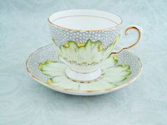 Vintage Teacup and Saucer Set by Tuscan China, Vintage Dahlia Tea Cup and Saucer