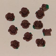 Chocolate Brown Polymer Clay Rose Flower Beads 10mm - pinned by pin4etsy.com
