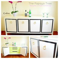 Lacquered Custom Built Made to Order Choose your size and color Buffet Credenza Media Dresser White Painted Furniture, Refurbished Furniture, Furniture Makeover, Vintage Furniture, Media Dresser, Mid Century Decor, Beige Walls, Hollywood Regency, My Living Room